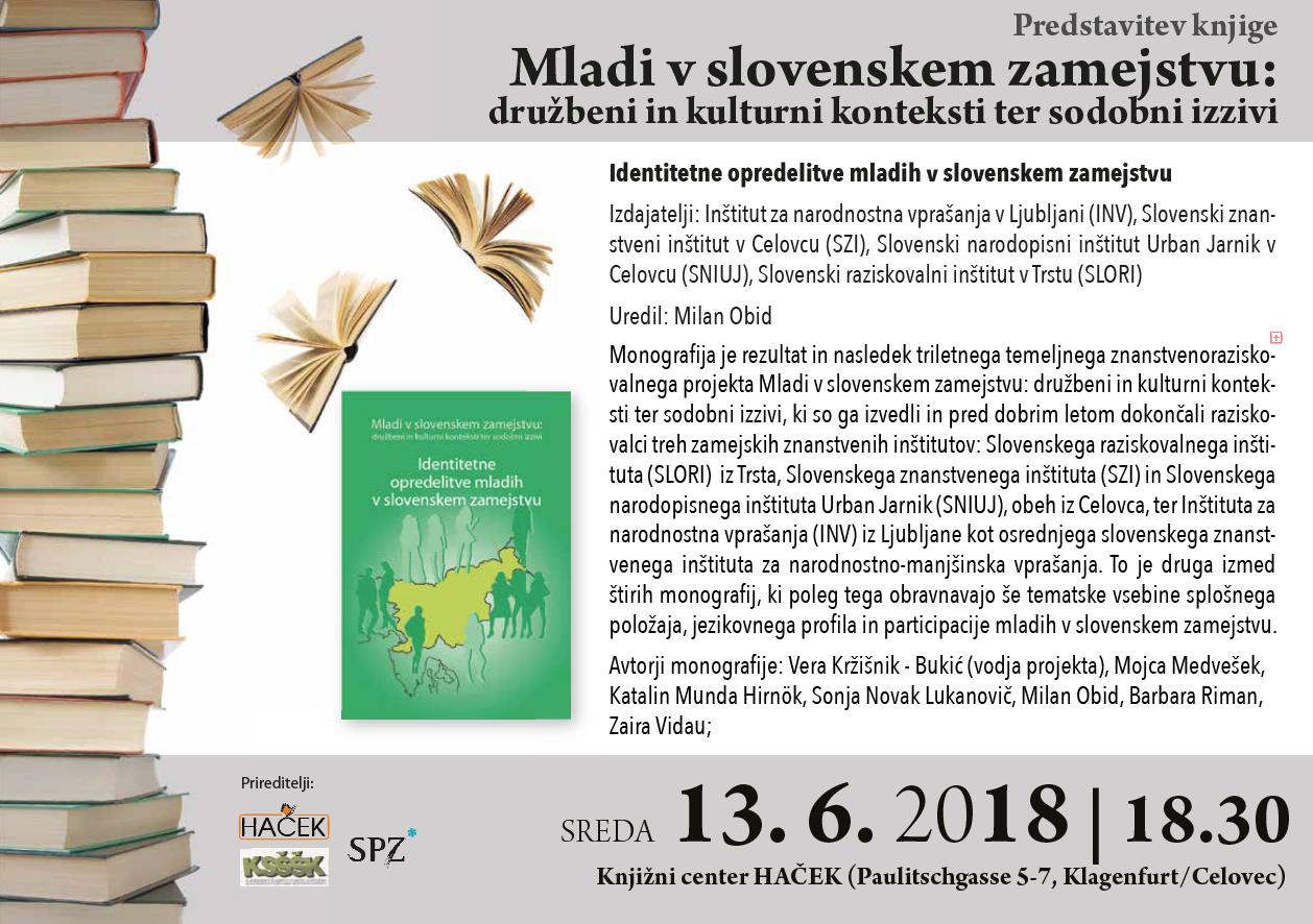 """Predstavitev knjige """"Mladi v slovenskem zamejstvu"""""""