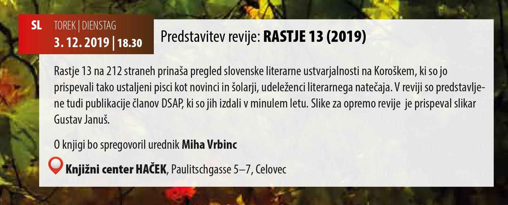 Rastje 13 (Uredil: Miha Vrbinc, izdala DSPA & SPZ, založil JSKD)