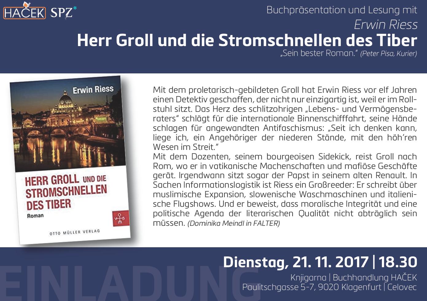 Riess Erwin : Herr Groll und die Stromschnellen des Tiber