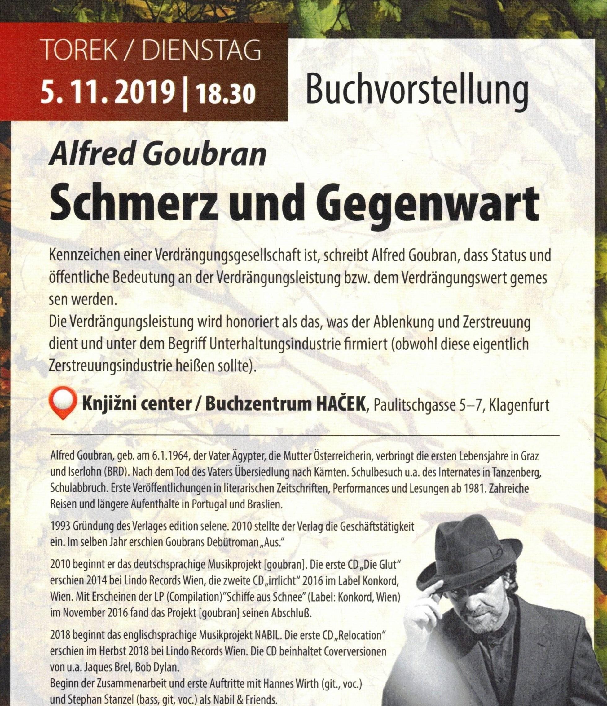 Alfred Goubran: Schmerz und Gegenwart (Mitveranstalter VADA)