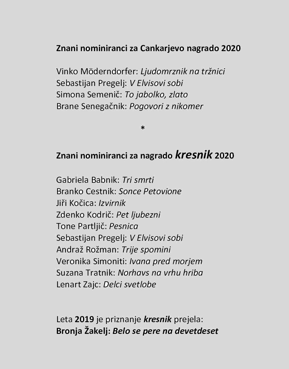 Nominiranci za Cankarjevo in kresnikovo nagrado